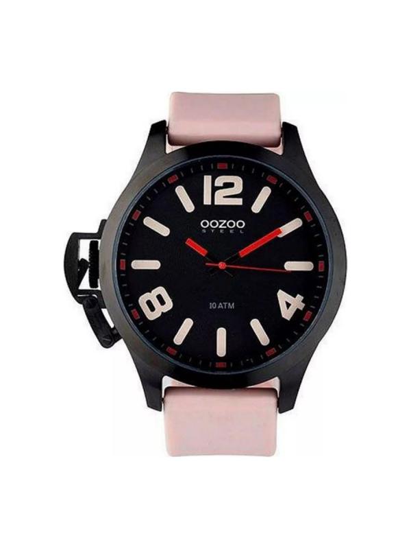 Ρολόι Oozoo steel OS374 γυναικείο μαύρο & ροζ